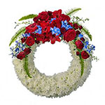White Wreath with Red Crown on Stand